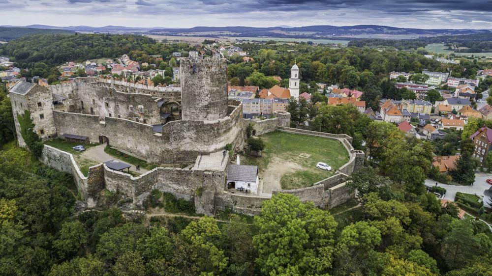 Bolków panorama na zamek i miasto