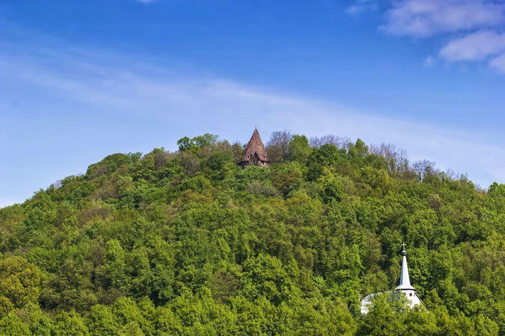 zamek grodziec widok na wzgórze