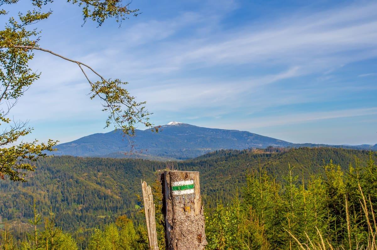 Widok na szczyt Babiej Góry ze szlaku